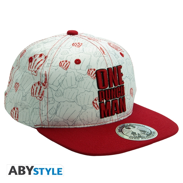 One Punch Man - Punches Snapback Cap - Beige/Red