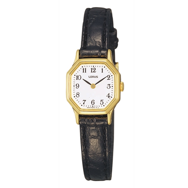 Lorus RPG40BX8 Ladies Black Leather Strap Dress Watch with Hexagonal Gold Case