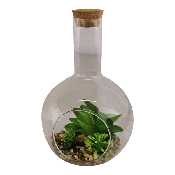 Medium Faux Succulent In Glass Terrarium