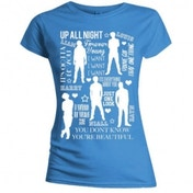 One Direction Silhouette Lyrics Skinny Blue T-Shirt Small