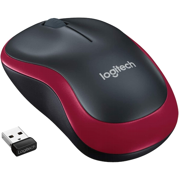 Image of Logitech M185 Black/Red Wireless Full Size Optical Mouse