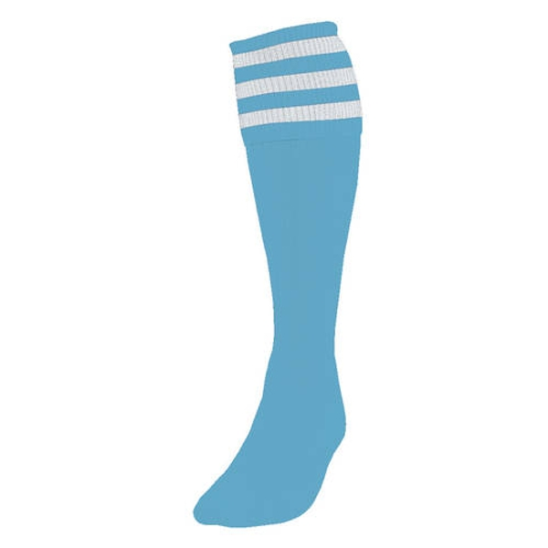 Precision 3 Stripe Football Socks Sky/White - UK Size 3-6