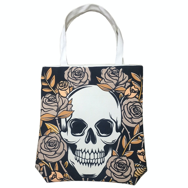 Skulls and Roses Cotton Bag with Zip and Lining