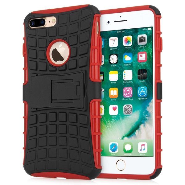 Caseflex iPhone 7 Plus Kickstand Combo Case - Red (Retail Box) - Image 1