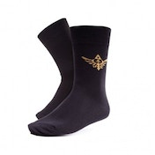 NINTENDO Legend of Zelda Crew Socks with Embroidered Royal Crest for Size 39/42, Black