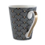 Conical Mug Oriental Heron Design with Gold Handle