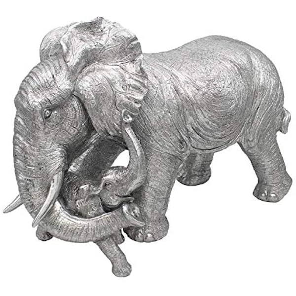 Silver Art Elephant & Calf Ornament
