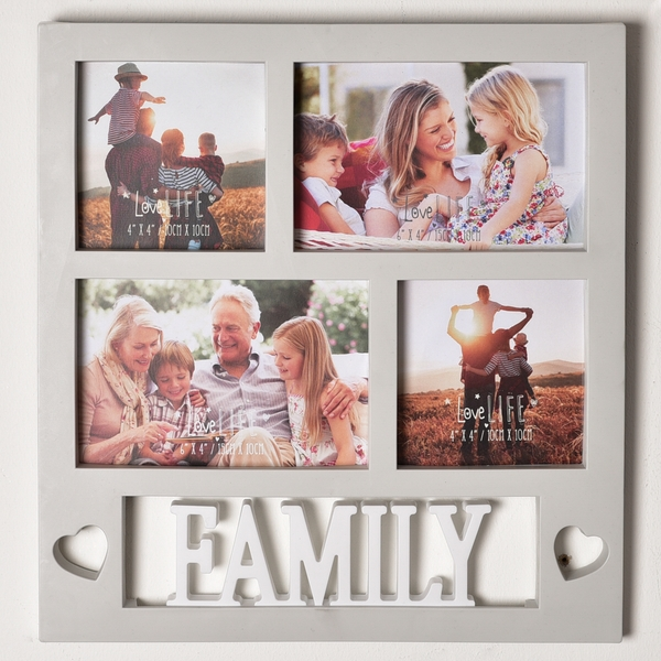 Love Life 4 Aperture Collage Photo Frame - Family