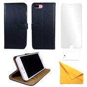iPhone 6 Plus/6s Plus Black Leather Phone Case + Free Screen Protector Flip Wallet Gadgitech
