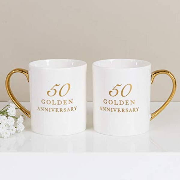AMORE BY JULIANA? Set of 2 China Mugs - 50th Anniversary