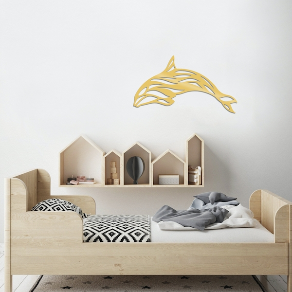 Dolphin - Gold Gold Decorative Metal Wall Accessory