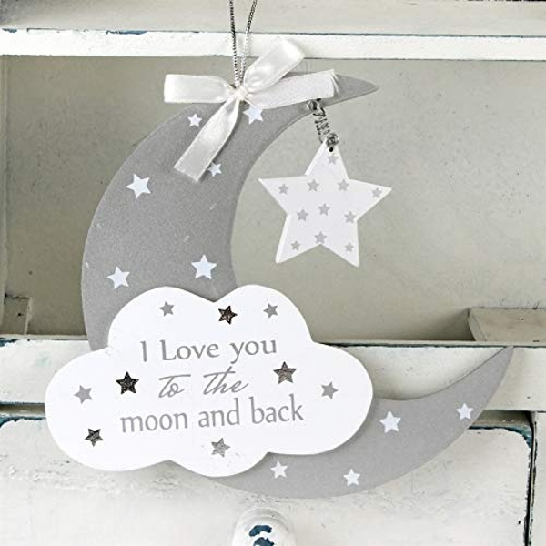 Twinkle Twinkle Moon & Star Baby Hanging Plaque
