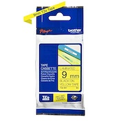 Brother TZe-621 Labelling Tape Cassette, Black on Yellow, 9mm (W) x 8M (L), Laminated, Brother Genuine Supplies