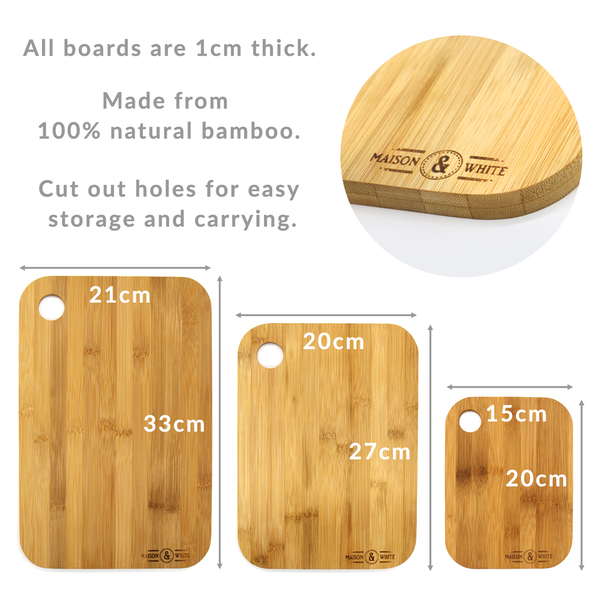 3 Bamboo Chopping Boards   M&W - Image 4