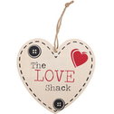 The Love Shack Hanging Heart Sign