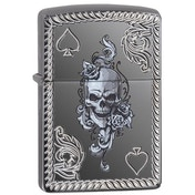 Zippo Unisex's Spade and Skull Design Armor Black Ice Windproof Lighter