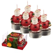 Jingle Bells Santa Christmas Set of 6 Tea Light Candle