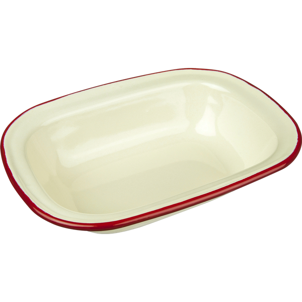 Oblong Pie Dish 20cm Cream with Red Trim 644020