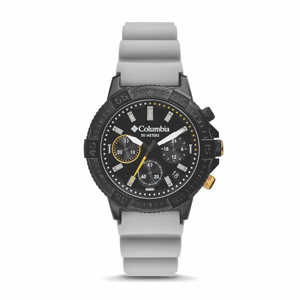 Columbia CSC03-005 Peak Patrol Black Chronograph Day Date Grey Silicone Watch