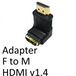 HDMI 1.4 (F) to HDMI 1.4 (M) Black OEM Right Angled Adapter - Image 2