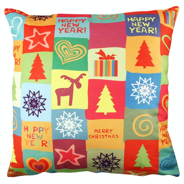 A11833 Multicolor Cushion Merry Christmas / Happy New Year