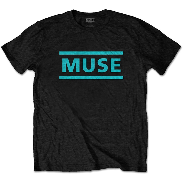 Muse - Light Blue Logo Unisex Large T-Shirt - Black