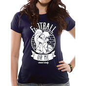 Looney Tunes - Football Women's Large Fitted T-Shirt - Blue