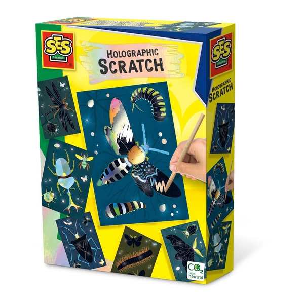 SES CREATIVE Children's Holographic Scratch Insects Set