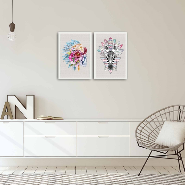 2PBCT-10 Multicolor Decorative Framed MDF Painting (2 Pieces)