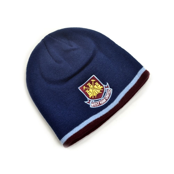 West Ham Classic Crest Youths Knitted Beanie Hat Navy Sky