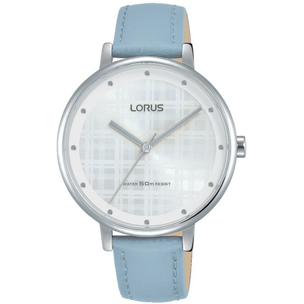 Lorus RG269PX9 Ladies Blue Leather Strap Watch with White Sunray Dial and Silver Lining