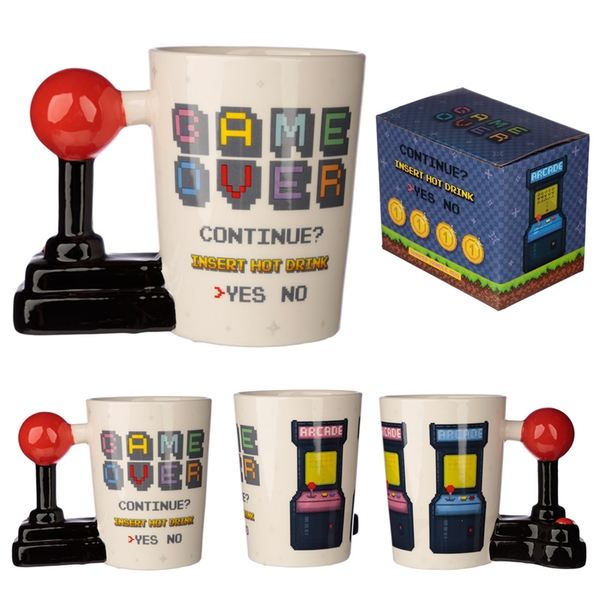 Gaming Joystick Shaped Handle Mug with Arcade Decal