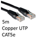 RJ45 (M) to RJ45 (M) CAT5e 5m Black OEM Moulded Boot Copper UTP Network Cable - Image 2