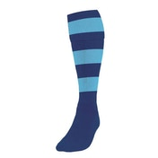 Precision Hooped Football Socks Large Boys Navy/Sky