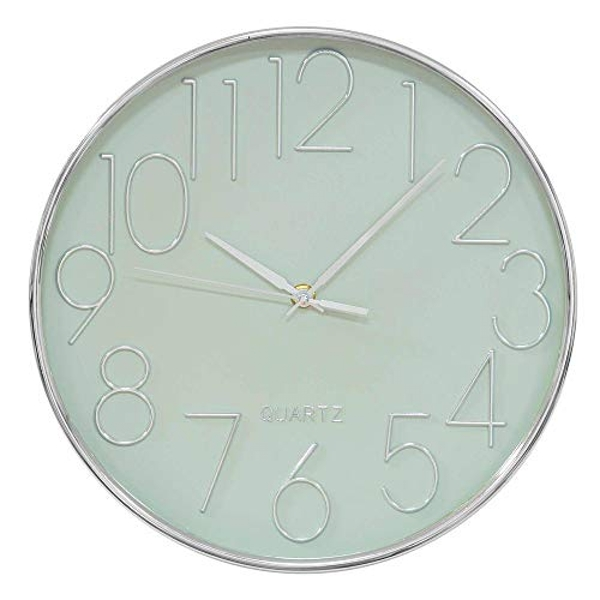 HOMETIME? Silver & Sage Green Wall Clock with 3D Dial - 30cm