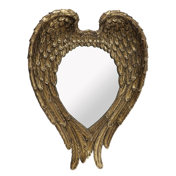 Antique Gold Guardian Angel Wing Wall Mirror