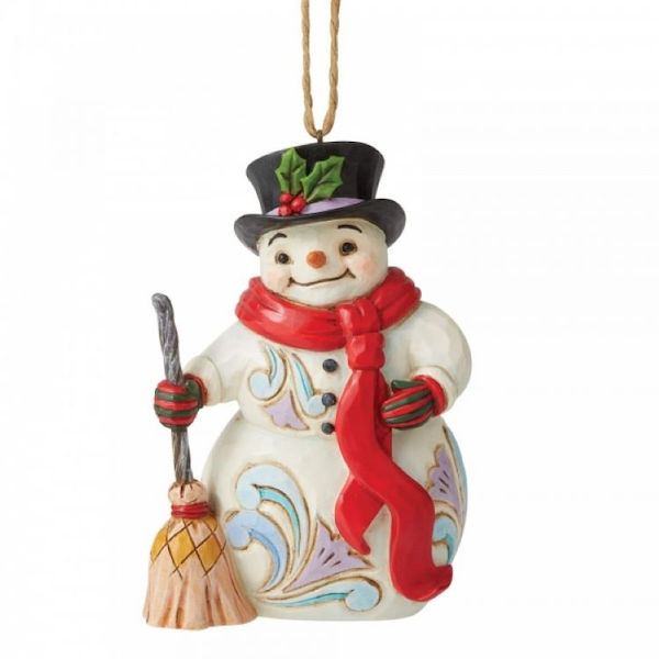 Snowman with Long Scarf and Broom Hanging Ornament