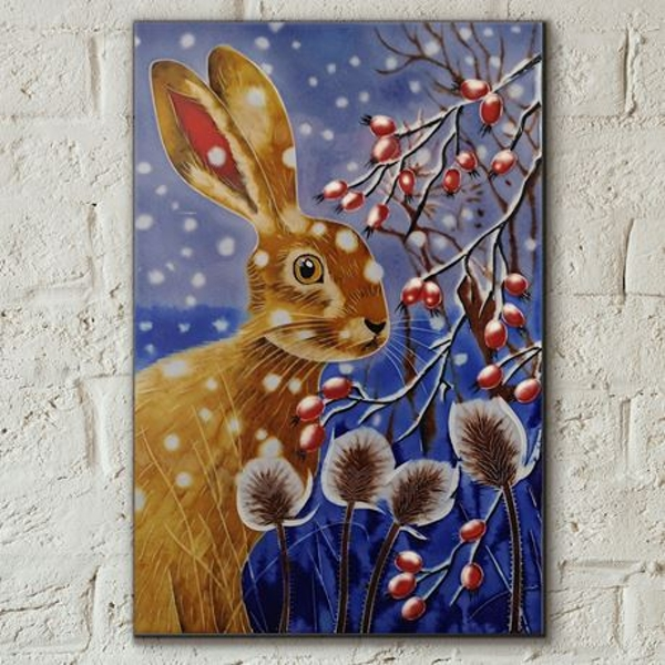 Tile 8x12 Winter Hare By Judith Yates Wall Art