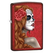 "Zippo ""Day Of The Dead Girl"" Candy Apple Red Windproof Lighter"