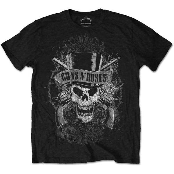 Guns N' Roses - Faded Skull Unisex Large T-Shirt - Black