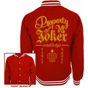 Suicide Squad - 'Property Of' Men's XX-Large Varsity Jacket - Red