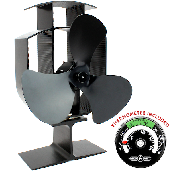 Heat Powered 3 Blade Stove Fan With Thermometer | M&W