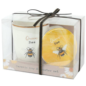 Queen Bee Ceramic Mug and Coaster Set