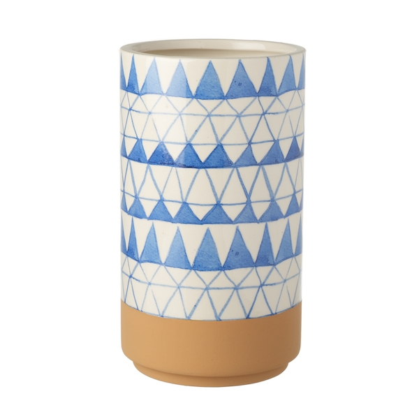 Blue & White Patterned Cylindrical Ceramic Vase By Heaven Sends