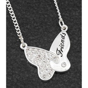 Butterfly Jigsaw Silver Plated Necklace Friends