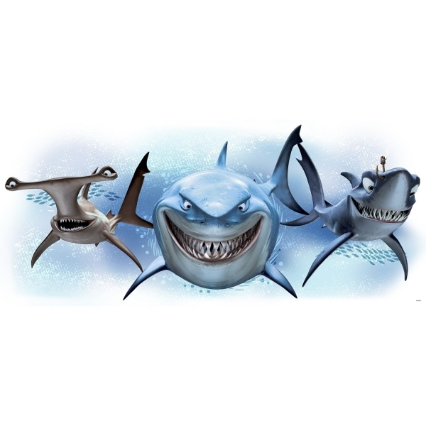 (Damaged Packaging) Disney Pixar Finding Nemo Giant Sharks Wall Stickers Used - Like New
