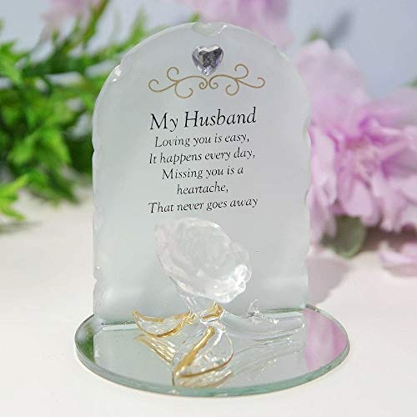 Thoughts Of You Glass Rose Sentiment Ornament - My Husband