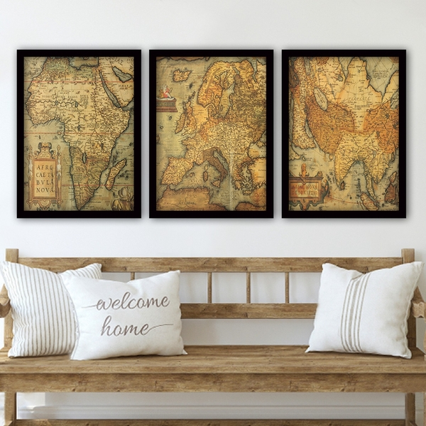 3SC182 Multicolor Decorative Framed Painting (3 Pieces)