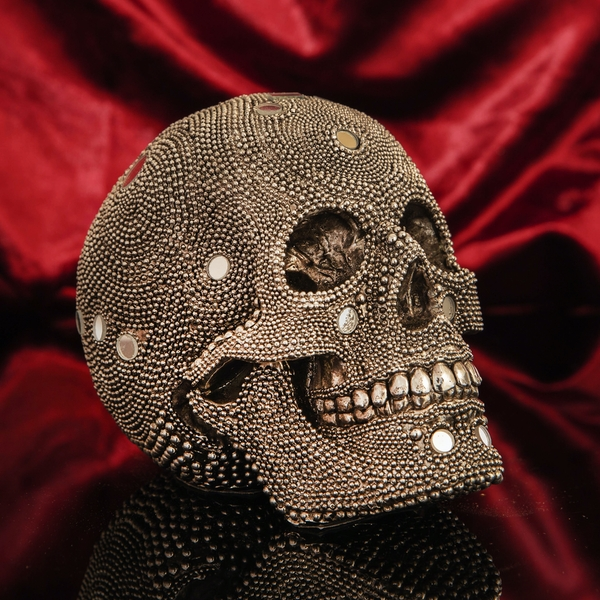 Large Diamante Skull Ornament with Mirror Mosaic Details