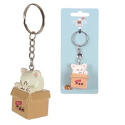 Fun Novelty Cat in a Box Keyring
